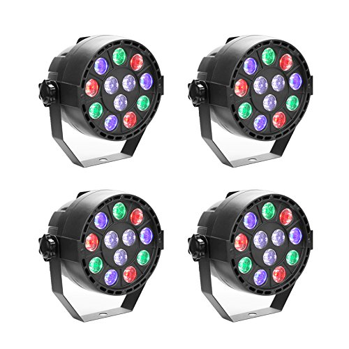 GBGS Led Par uplighting Par Wall Wash Wedding DJ Up Light RGBW Color Mixing Can Lamp for KTV Bar Pub Dance(4 Pack)