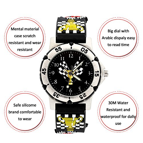 ELEOPTION Waterproof 3D Cute Cartoon Digital Analog Quartz Watch With Silicone Band Outdoor Sports Watches Wristwatch Free Watch Gift Box for Boys Girl Students Teenagers