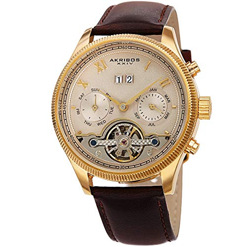 Akribos Xxiv Mens Automatic Watch - Akribos XXIV Men's Multifunction Skeleton Watch - Genuine Leather Brown Band - Automatic Mechanical Movement, See Through Dial - AK1065BR
