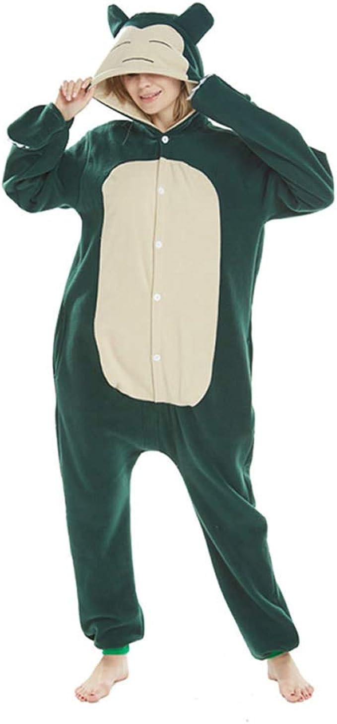 Snorlax Adultos Hombres Mujeres Pijama Pijama de una Pieza Verde Snorlax Animal de la Historieta de Cosplay Traje Traje de sueño