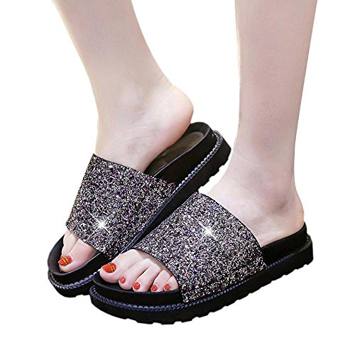 Flip Flops, FTXJ Women Girls Bling Sequins Open Toe Casual Outdoor Slippers Multi