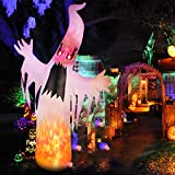 amzdeal Halloween Inflatable Ghost 8Ft Upgraded HalloweenTerrible White Ghost with Lighted Real Flames and Eyes Indoor Outdoor Yard...