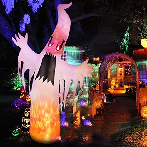 Putting Up Halloween Decorations (amzdeal Halloween Inflatable Ghost 8Ft Upgraded HalloweenTerrible White Ghost with Lighted Real Flames and Eyes Indoor Outdoor Yard Lawn Party Decoration Includes 5 Stakes and 3)