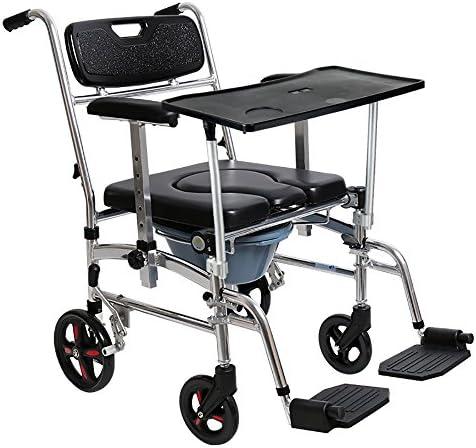 Cqq Badestuhl Alten Mann Toilette/Schwangere Frau Kommode Stuhl/Hemiplegische Rehabilitation Rollstuhl Aluminiumlegierung Faltbare Riemenscheibe Mit Pedal Mobilen Rollstuhl