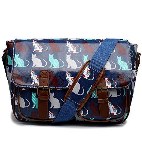 Miss Lulu Oilcloth Prints Satchel Messenger Shoulder School Bag (Cat Navy) (School Oil)
