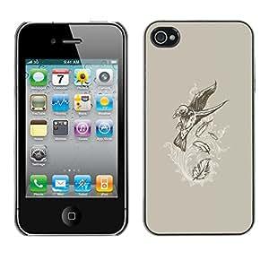 TopCaseStore / la caja del caucho duro de la cubierta de protección de la piel - Flying Crow Raven Skeleton Goth - Apple iPhone 4 / 4S