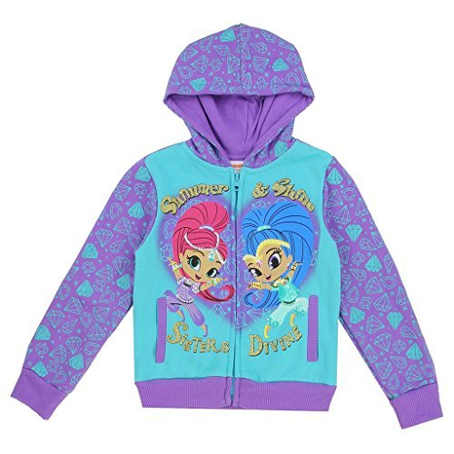 Shimmer & Shine Toddler Little Girls ''Sisters Devine'' Zip Hoodle Sweater Jacket (3T, Purple) by Nickelodeon