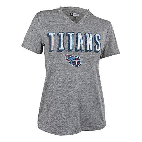 Zubaz NFL Tennessee Titans Female Retro Zebra V-Neck T-Shirt, Gray, ()