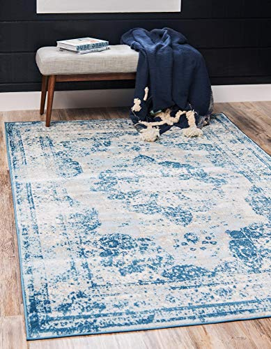 Unique Loom Sofia Collection Traditional Vintage Blue Area Rug (7' x 10') (Traditional Rugs Blue)