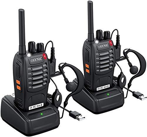 eSynic 2Pcs Walkie Talkies 2 Way Radio Long Range Rechargeable Walkie Talkie Portable Handheld Adult Walkie Talkies With…