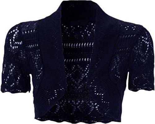 The Fashion City - Bolero de punto para mujer, manga corta, tallas grandes de 36 a 50 azul marino