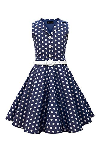 BlackButterfly Kids 'Holly' Vintage Polka Dot 50's Girls Dress (Midnight Blue, 5-6 YRS) -