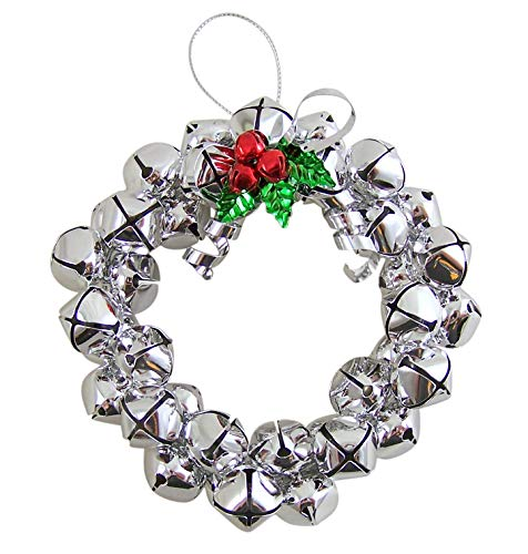 Christmas Metal Jingle Bell Wreath Ornament, 5 Inch