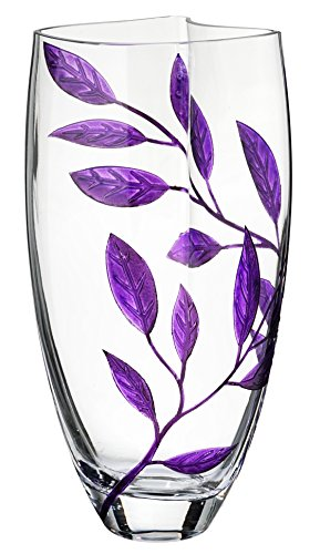 Premium Handmade Glass Vase - Decorated with Sandblasted and Painted Purple Leaves - Mouth Blown Lead Free Glass - Clear Unique Shape Vase - Decorative Centerpiece - 11.4 inch (29 cm)