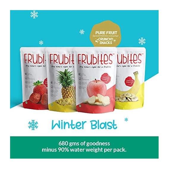 Frubites Winter Blast | 100% Pure (Freeze-Dried) Fruit Snack for Kids | 100% Natural, Vegan, No Preservatives, Clean Label | Yummy & Crunchy Fruits, 72GM (4 Packs)