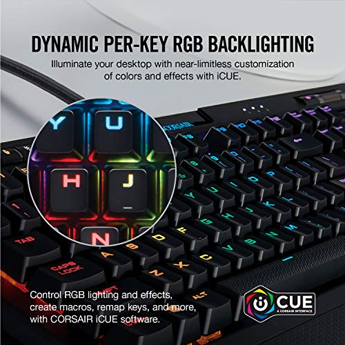 Corsair K70 RGB MK.2 Rapidfire Mechanical Gaming Keyboard - USB Passthrough & Media Controls - Fastest & Linear - Cherry MX  Speed - RGB LED Backlit