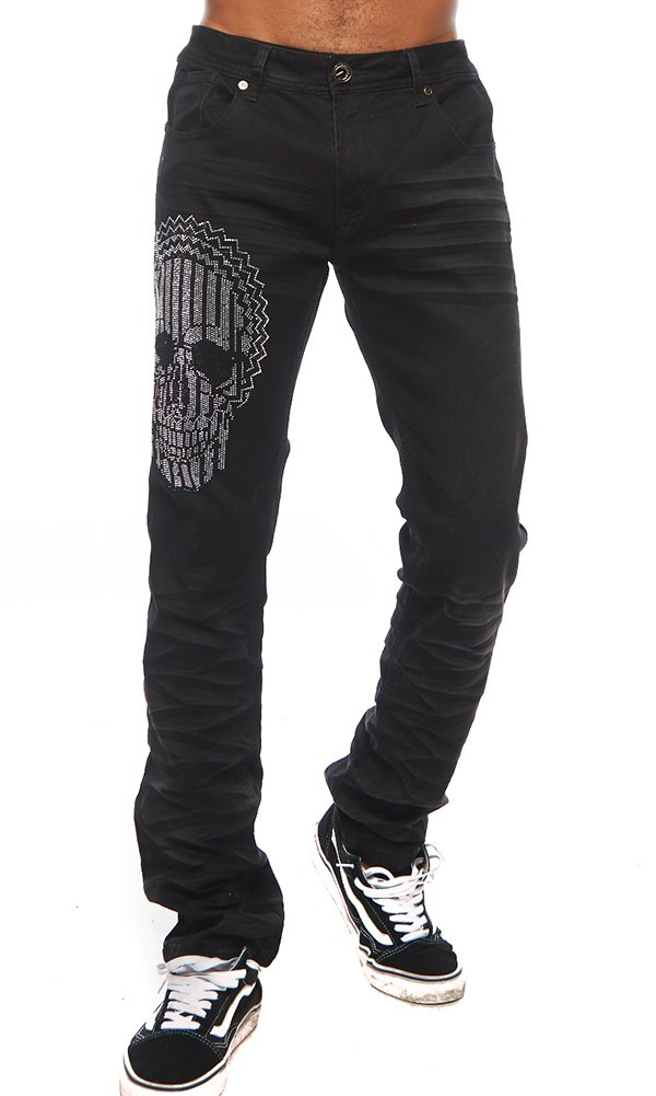 ''Glass Skull'' Gold Leaf Black Jeans 36 by Barabas