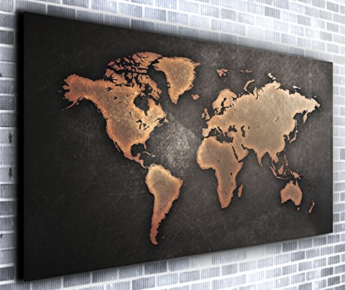Map of The World Wall Decor Panoramic Canvas Wall Art Print Framed XXL 55 inch x 30 inch Over 4.5 ft Wide x 2 ft High Ready to Hang Canvas Print