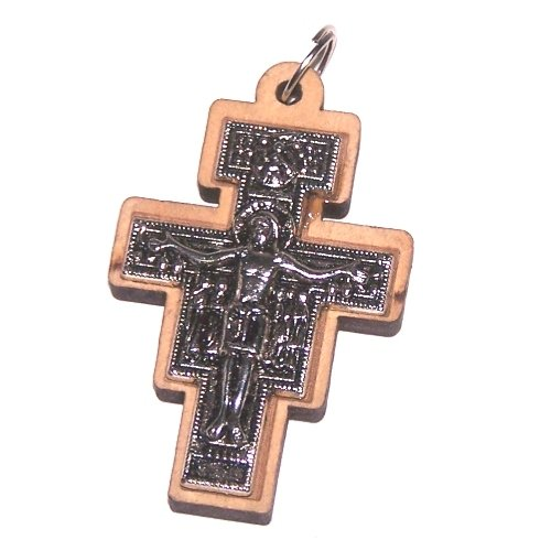 Holy Land Market Olive wood Cross with Embedded pewter Cross - San Damiano model (5 cm - 2 Inches) - 7mm thick