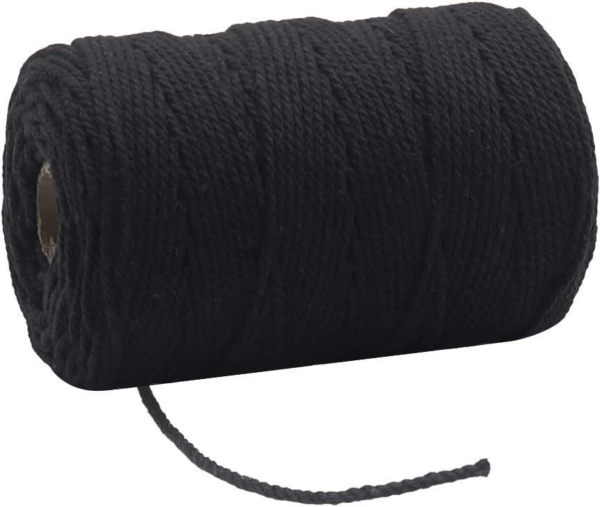 2mm Black Bakers Twine, 328 Feet Food Safe Cotton String for Crafting, Hanging Photos, Price Tags, Christmas Wrapping Gifts