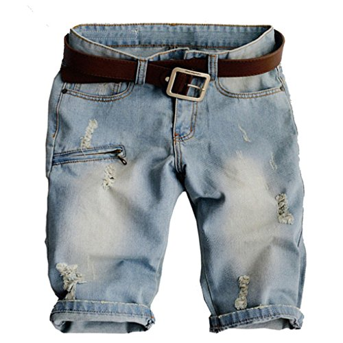 Price comparison product image A POCKET OF SUNSHINE Men's fashion hole denim shorts Male casual zipper rivet motorcycle jeans for man Capri Breeches Blue31
