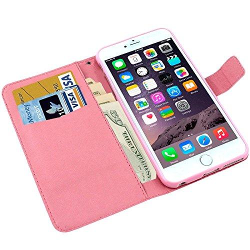 König-Shop Apple iPhone 6 Handy Hülle Schutzhülle Schutztasche Wallet Tasche Case Cover Etui Schale Handyhülle Handyschale Handytasche mit Standfunktion Eule auf Ast