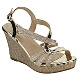FOREVER FQ22 Women's Glitter Strappy Wrapped Wedge Heel Platform Sandals, Color Gold, Size:8.5