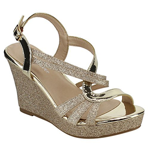 FOREVER FQ22 Women's Glitter Strappy Wrapped Wedge Heel Platform Sandals, Color:Gold, Size:8