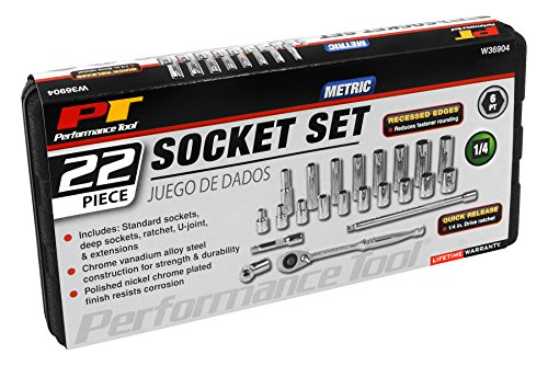 Performance Tool W36904 1/4-Inch Drive MET Socket Set, 22-Piece