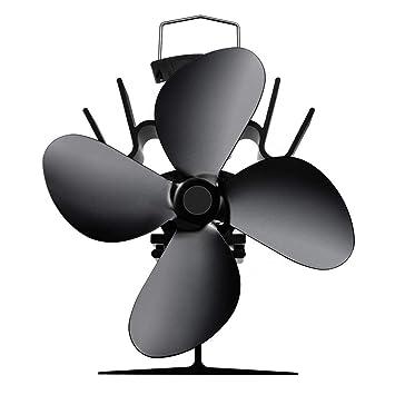 InnerSetting Ventilador de Estufa de Calor para Interior, 4 Cuchillas de Invierno, con Ventilador