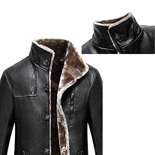 Qqwe Pelle Giacca Caldo Gli Outwear Casual Caldi Uomini Di Esterni Black Inverno Cappotto Spessa Genuina rv4qrx0wCZ