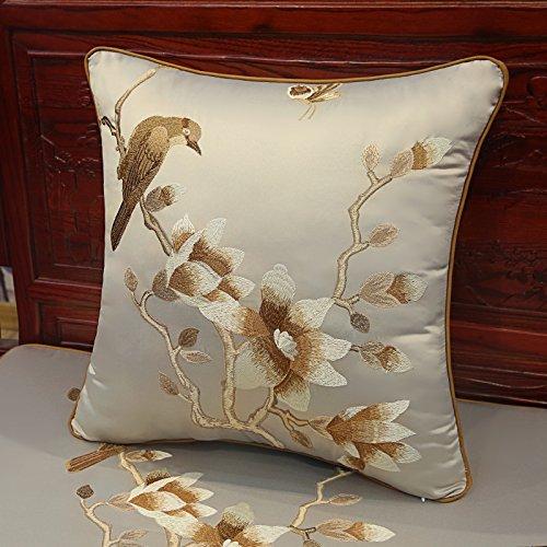 e Mahogany Sofa Cushion Foam Cushion Embroidery Cushion Pillow Wood Armchair Sofa Cushion 60 x 60cm pillowcase Ash (Wood Ash Stripe)