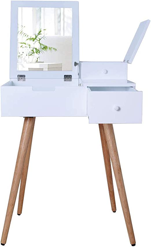 Stylehome Make-Up Table with Mirror Drawers Vanity Makeup Table Wood