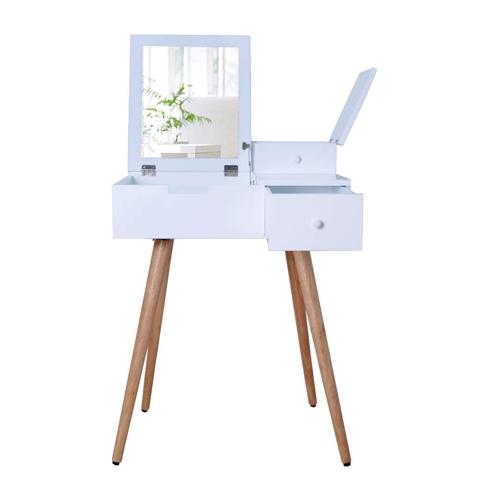Amazon com facilehome white dressing vanity table makeup desk with flip top dressing mirror and 2 drawers kitchen dining