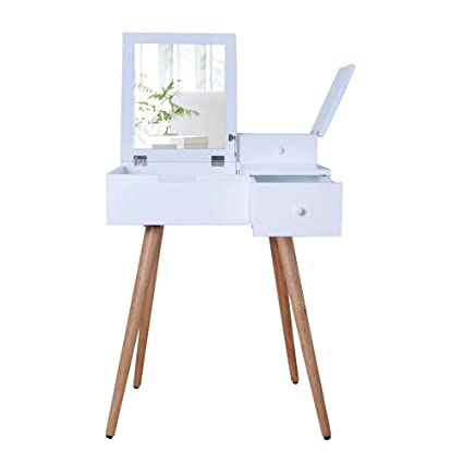 Amazon Com Facilehome White Dressing Vanity Table Makeup Desk With
