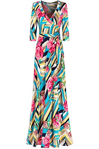 Bon Rosy Women's MadeInUSA 3/4 Sleeve V-Neck Printed Maxi Faux Wrap Floral Dress Summer Wedding Guest Party Bridal Baby Shower Maternity Nursing Turquoise S