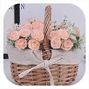Memoirs- 1set Country Style Basket + Roses and Pineapple Grass Artificial Flowers Family Decoration Fake Flowers 25