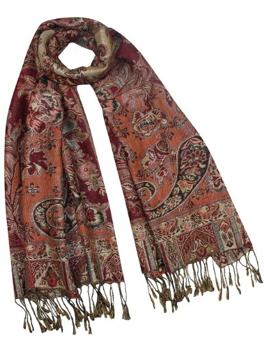 Rayon Metallic Paisley Flower Garden Two-Sided Reversible Scarf - Burgundy Red ()