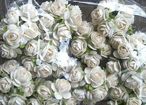 100 Pure White Mulberry Roses 10 - 15 mm. Paper Flowers Scrapbooking Embellishment (Straw Basket Making)