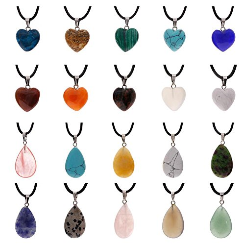 (Keyzone 20 Pieces Heart Water Drop Shape Stone Pendants Charms Crystal Quartz Chakra Beads with 18 Inch Black Imitation Leather Cord Necklace)