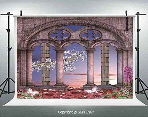 Photography Background Ancient Colonnade in Secret Garden with Flowers at Sunset Enchanted Forest 3D Backdrops for Photography Backdrop Photo Background Studio Prop