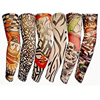 ElecMotive 6pc Fake Temporary Tattoo Sleeves Body Art Arm Stockings Accessories (6pc-A)