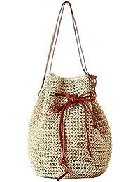 Women Bucket Bag Drawstring Hobo Crochet Straw Shoulder Bag