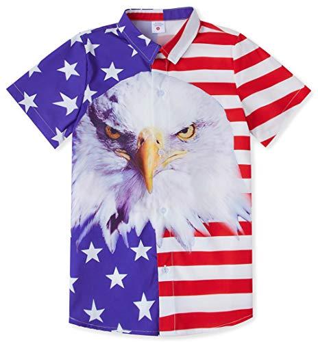 RAISEVERN Big Boy's USA Shirts Button Down Top Cool American Flag Dress Short Stripes Star Sleeve Aloha Shirt for Kids(11-12T) ()