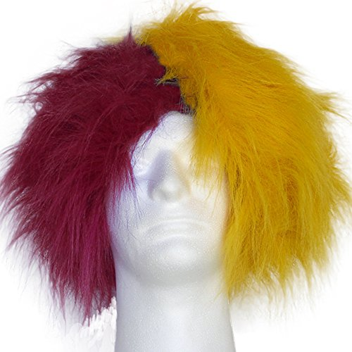 Sports Novelties Wig, Half Burgundy and Half Gold