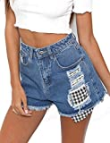 Women's Girls Summer Casual Shorts Hole Distressed Juniors Girls Fit Ripped Denim Jean Shorts S LightBlue