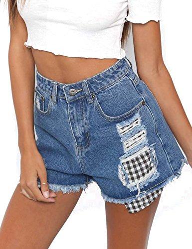 b4b22df33f9 Women s Girls Summer Casual Shorts Hight Waist Ripped Denim Distressed Jean  Shorts
