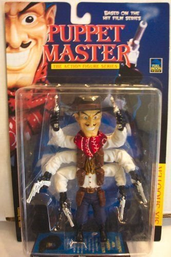 - Puppet Master Six Shooter Vintage 1997 Action Figure (Variant w/ Brown Hat & Holsters, White Shirt, Red Bandana, Purple Pants, Black Boots and Gloves, and Silver Guns)