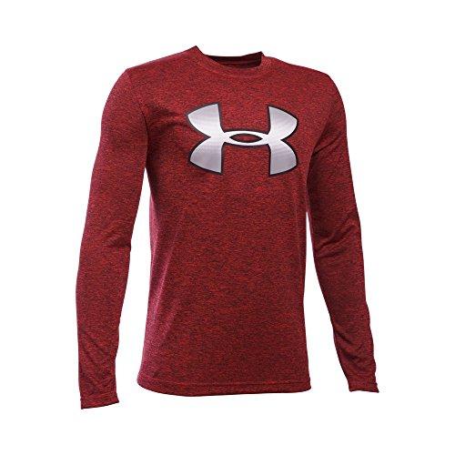 Under Armour Boys' Novelty Big Logo Long Sleeve, Red/Black, Youth X-Large