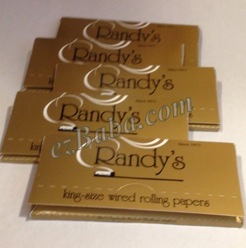 Randy's Gold Wired Rolling Papers King Size 5 Packs, 100% Organic Vegan